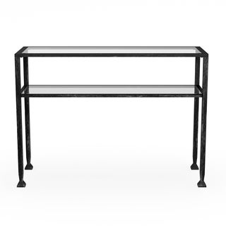 Carbon Loft Glenn Distressed Black Metal Sofa Table