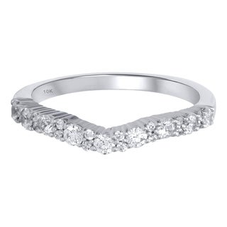 Forever Yours 10KT White Gold 1/2cttw Round Diamond Contour Ring