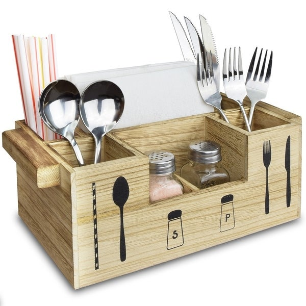 Shop Ikee Design Wooden Seven Compartments Utensil Holder, Kitchen ...
