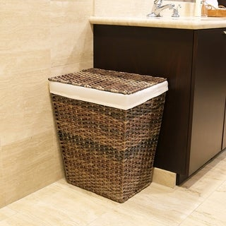 Seville Classics Handwoven Lidded Laundry Hamper with Canvas Liner, Mocha