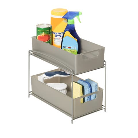 Seville Classics Satin Pewter 2-Tier Pull-Out Sliding Drawer Kitchen Counter Organizer