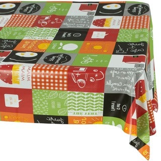Ottomanson Vinyl Tablecloth Modern Cafe Design Indoor & Outdoor Non-Woven Backing Tablecloth