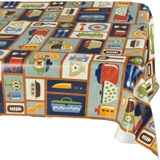 Ottomanson Vinyl Tablecloth Retro Kitchen Design Indoor & Outdoor Non-Woven Backing Tablecloth