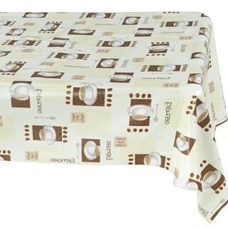 Ottomanson Vinyl Tablecloth Espresso Cups Design Indoor & Outdoor Non-Woven Backing Tablecloth