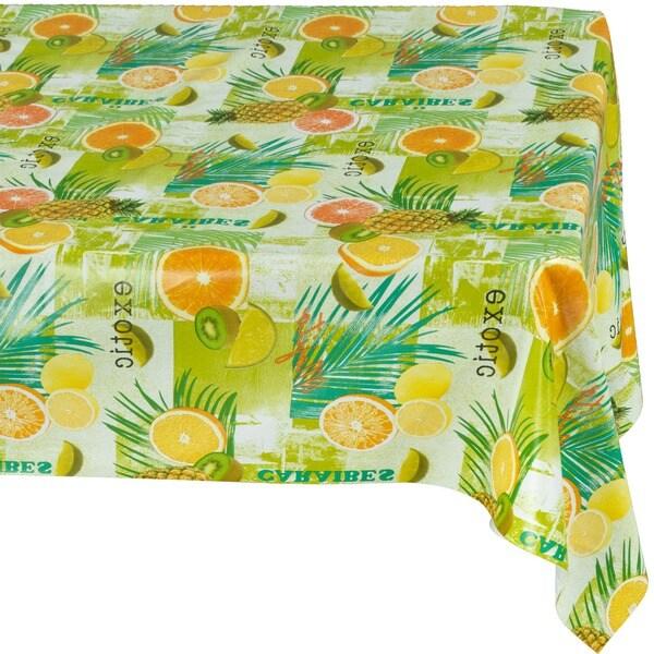 Charmant Ottomanson Vinyl Tablecloth Tropical Fruit Design Indoor U0026amp; Outdoor  Non Woven Backing Tablecloth