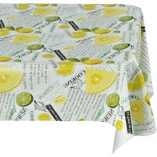 Ottomanson Vinyl Tablecloth Lemon Lime Design Indoor & Outdoor Non-Woven Backing Tablecloth