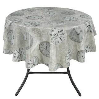 Ottomanson Vinyl Tablecloth Time Clock Design Indoor & Outdoor Non-Woven Backing Tablecloth