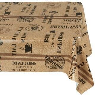 Ottomanson Vinyl Tablecloth Coffee Bean Design Indoor & Outdoor Non-Woven Backing Tablecloth