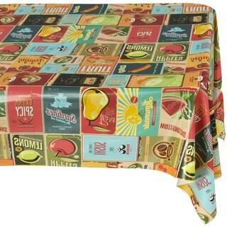 Ottomanson Vinyl Tablecloth Vintage American Design Indoor & Outdoor Non-Woven Backing Tablecloth