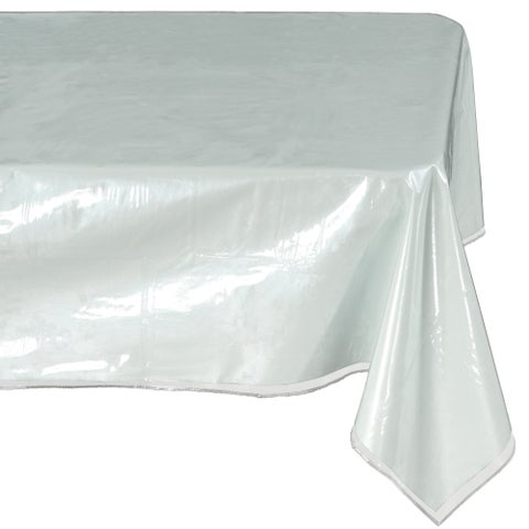 Ottomanson Heavy Duty Clear Plastic Tablecloth Clear Table Cover Protector White Sewn Edges Border Tablecloth