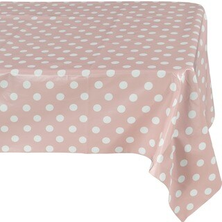 Ottomanson Vinyl Tablecloth Polka Dot Design Indoor & Outdoor Non-Woven Backing Tablecloth