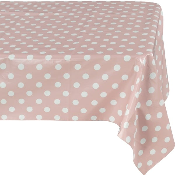Ottomanson Vinyl Tablecloth Polka Dot Design Indoor U0026amp; Outdoor Non Woven  Backing Tablecloth