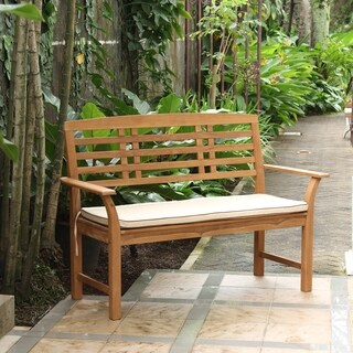Havenside Home Goodwin 4-foot Teak Garden Bench with Taupe Seat Pad