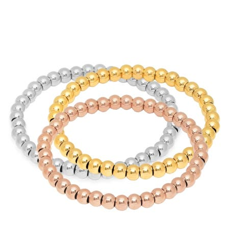 Steeltime Men's Set of 3 Tri-Colored Stainless Steel Beaded Bracelets