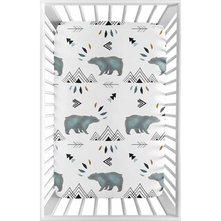 Sweet Jojo Designs Blue White Watercolor Bear Mountain Collection Fitted Mini Portable Crib Sheet