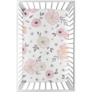 Sweet Jojo Designs Pink and Grey Watercolor Floral Collection Fitted Mini Portable Crib Sheet