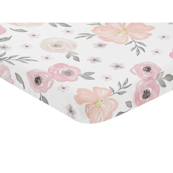 Sweet Jojo Designs Pink And Grey Watercolor Floral Collection Fitted Mini Portable Crib Sheet by Sweet Jojo Designs