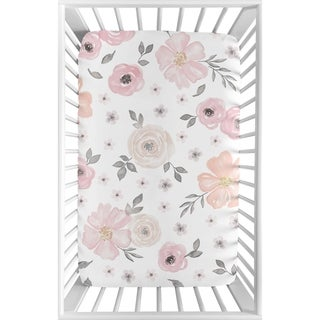 Link to Sweet Jojo Designs Pink and Grey Watercolor Floral Collection Fitted Mini Portable Crib Sheet Similar Items in Baby Bed Sheets