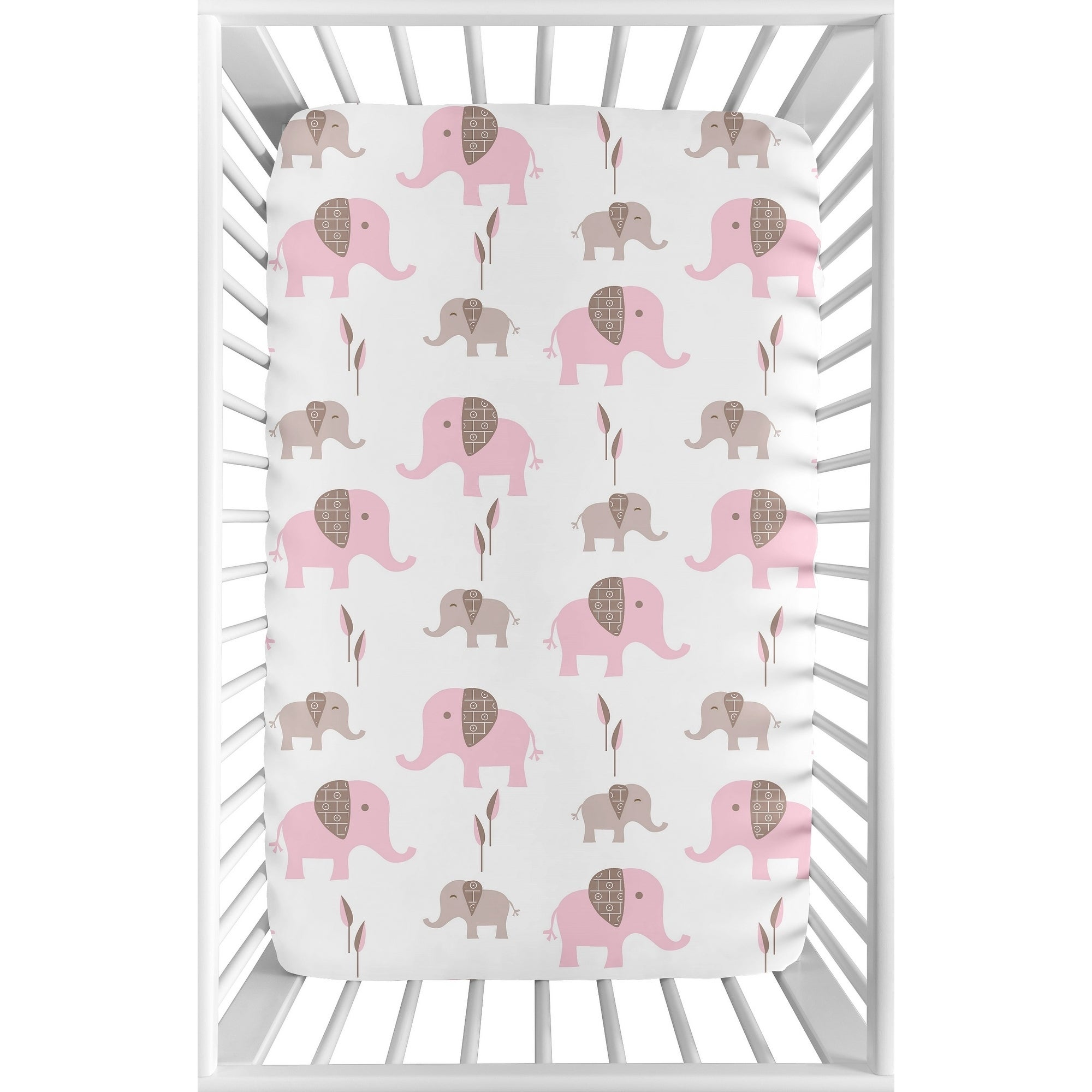Sweet Jojo Designs Pink And White Mod Elephant Collection Fitted Mini Portable Crib Sheet Overstock 20237085