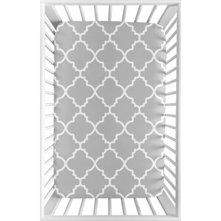 Sweet Jojo Designs Gray and White Trellis Collection Fitted Mini Portable Crib Sheet