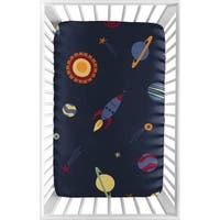 Sweet Jojo Designs Navy Blue Space Galaxy Collection Fitted Mini Portable Crib Sheet