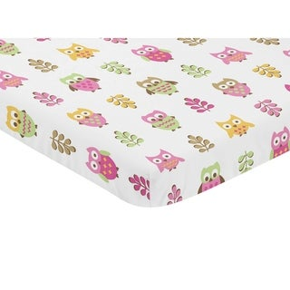Sweet Jojo Designs Pink and White Happy Owl Collection Fitted Mini Portable Crib Sheet