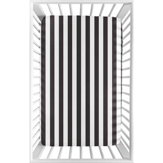 Link to Sweet Jojo Designs Black and White Stripe Paris Collection Fitted Mini Portable Crib Sheet Similar Items in Baby Bed Sheets