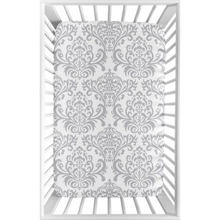 Sweet Jojo Designs Gray and White Damask Elizabeth Collection Fitted Mini Portable Crib Sheet