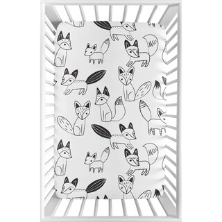 Sweet Jojo Designs Black and White Woodland Fox Collection Fitted Mini Portable Crib Sheet