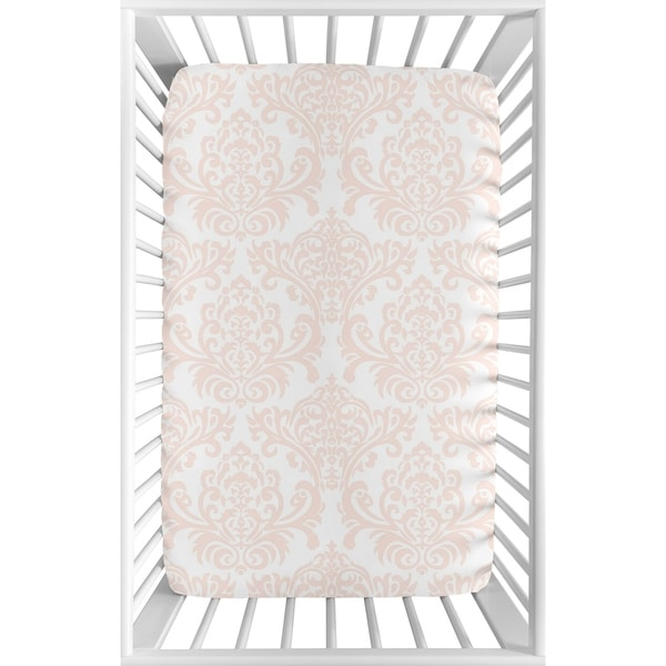 Sweet Jojo Designs Blush Pink and White Damask Amelia Collection Fitted Mini Portable Crib Sheet. Opens flyout.