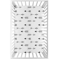 Sweet Jojo Designs Black and White Arrow Fox Collection Fitted Mini Portable Crib Sheet
