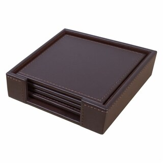 Chocolate Brown Leatherette Square Coaster Set with Stitched Edging
