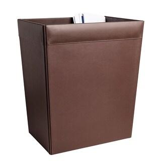 Chocolate Brown Leather 32 QuartWaste Basket