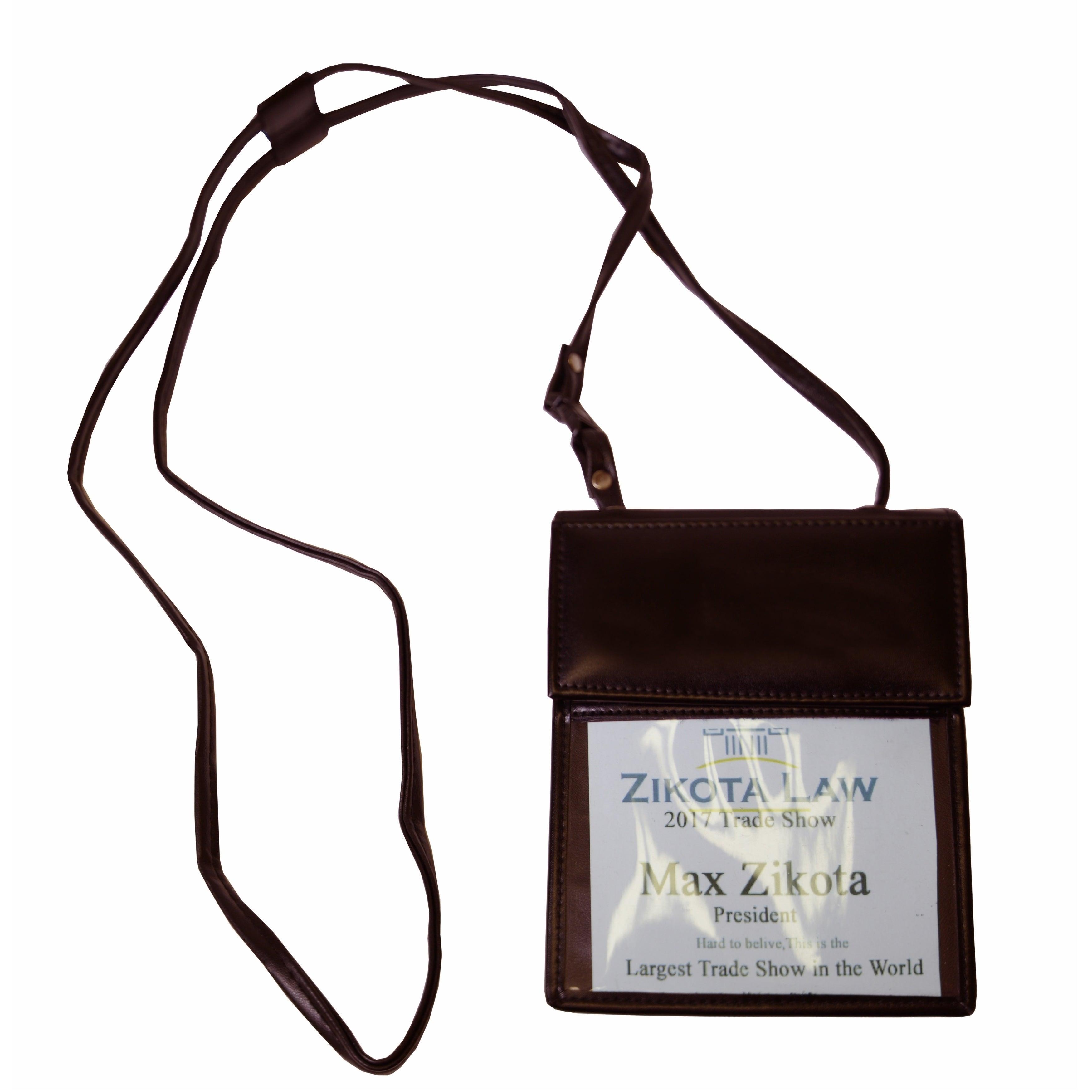 Dacasso Dark Brown Bonded Leather Badge Holder