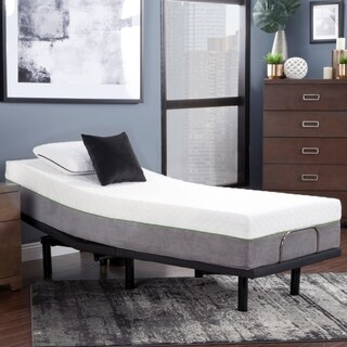 """Blissful Nights 12"""" Copper Infused Twin Long Memory Foam Mattress and Adjustable Base"""