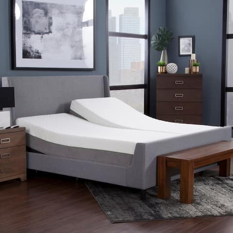 Blissful Nights 12-inch Copper Infused Memory Foam Mattress and Adjustable Bed Set
