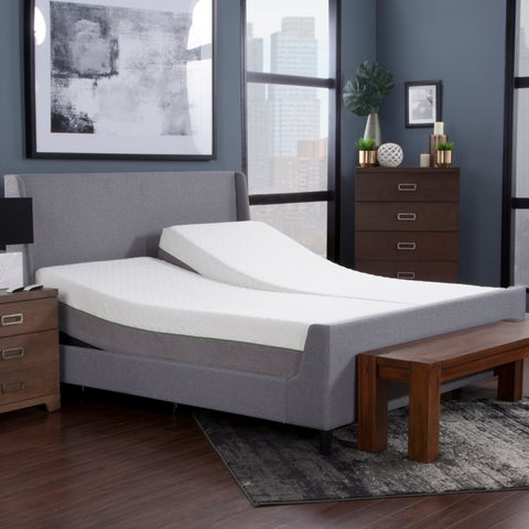 """Blissful Nights 12"""" Copper Infused Split King Memory Foam Mattress and Adjustable Base"""