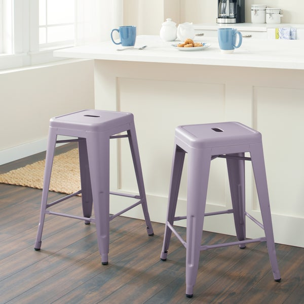 Shop Tabouret 24 Inch Purple Ash Metal Counter Stools Set