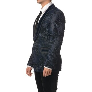 Embroidery Pattern With Velvet Collar Slim Fit Dinner Jacket