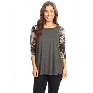 Women's Solid Top with Floral Raglan Pattern Sleeves