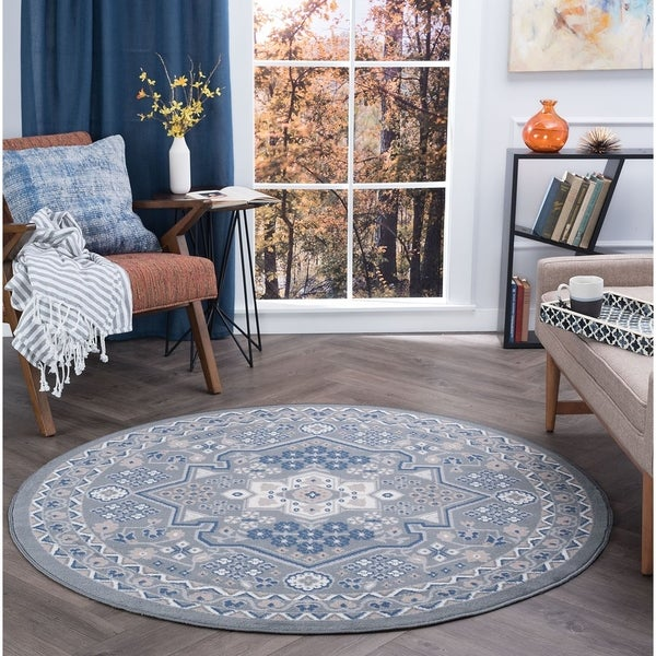 Alise Rugs Hamilton Traditional Oriental Round Area Rug - 5'3 x 5'3