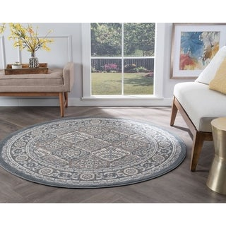 Alise Rugs Hamilton Traditional Oriental Round Area Rug