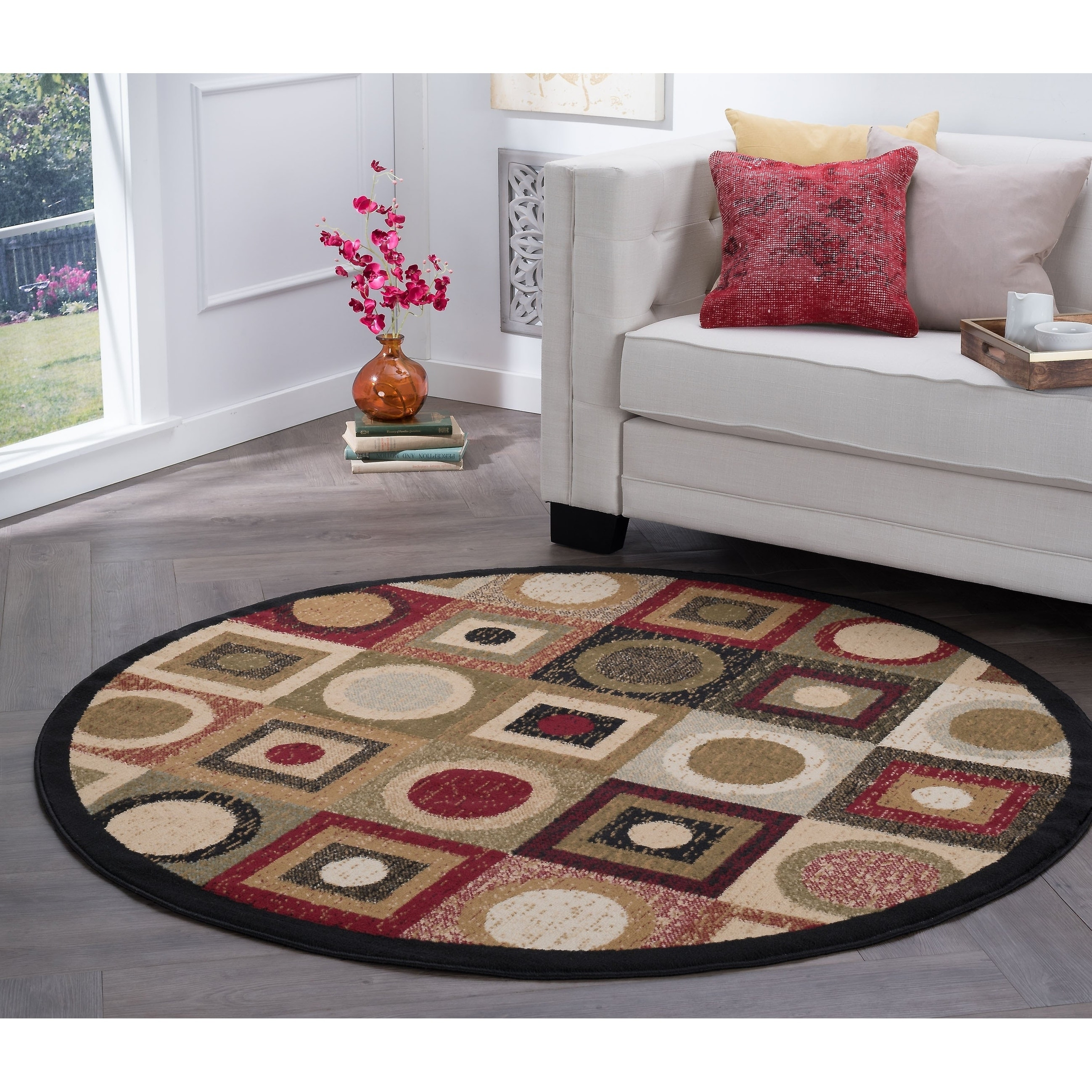 Shop Black Friday Deals On Alise Rugs Hamilton Contemporary Geometric Round Area Rug 7 10 X 7 10 Overstock 20246526
