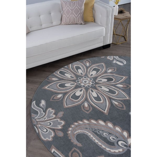 Alise Rugs Hamilton Transitional Floral Round Area Rug - 7'10 x 7'10