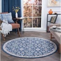 Alise Rugs Hamilton Traditional Brocade Round Area Rug - 7'10 x 7'10
