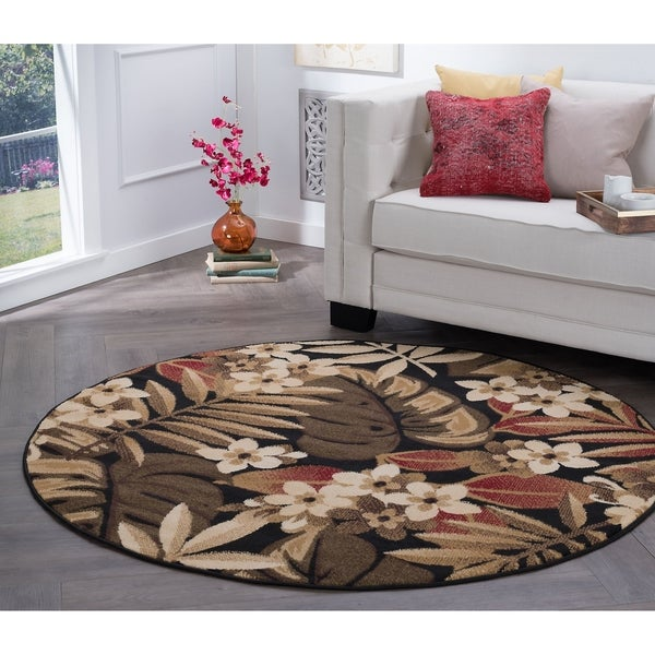 Alise Rugs Hamilton Transitional Floral Round Area Rug - 5'3 x 5'3