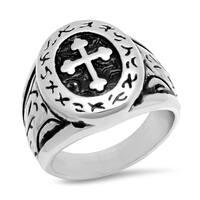 Steeltime Men's Stainless Steel Cross Ring