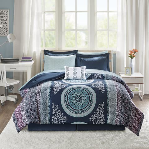 Intelligent Design Eleni Navy Medallion Reversible Comforter and Sheet Set