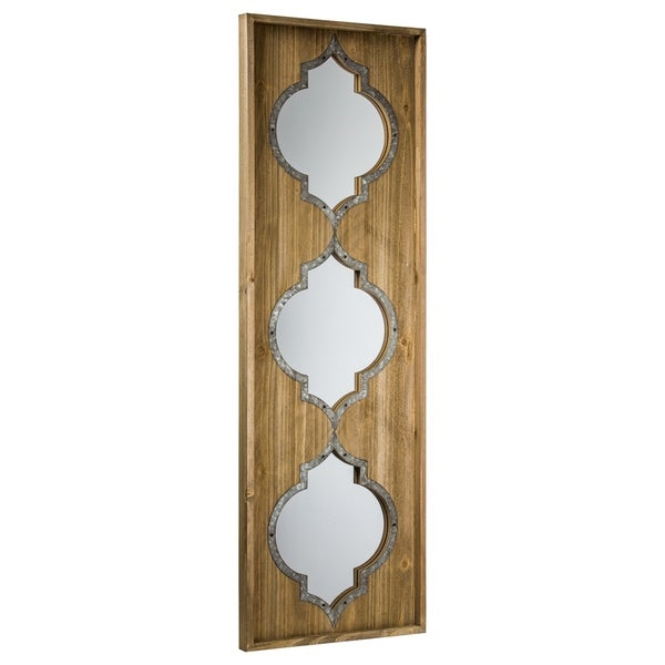 American Art Decor American Art Décor Whitewashed Rustic Wood Wall Vanity Mirror