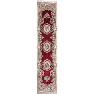 "eCarpetGallery Hand-knotted Aubousson Harrir Red Silk Rug - 2'3"" x 12'"